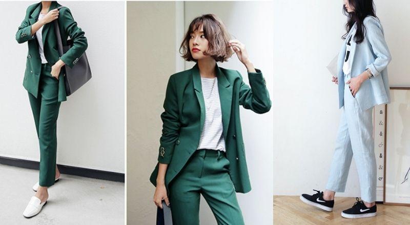 Trẻ trung với 2 màu vest xanh lá và xanh dương mix với giày đen, trắng