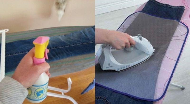 Là quần áo đúng cách - Phun nước và lót tấm lưới chuyên dùng trước khi ủi quần jean