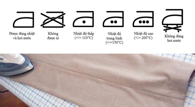 chú ý về chế độ ủi quần tây chuẩn nhất được in trên nhãn